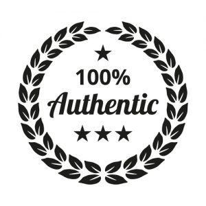 Laurel Wreath with '100 percent authentic' text