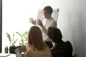 Businesswomen explaining