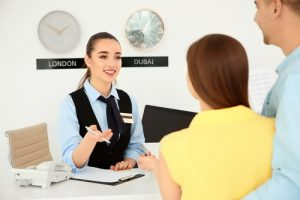 Receptionist in a hotel