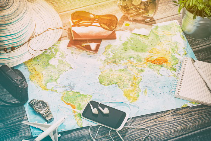 Map With Travel Utensils