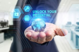 Virtual Screen showing unlock your potential