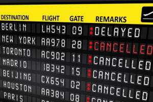 Flight delayed or cancelled display panel in airport