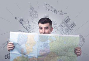 Man holding map of Europe
