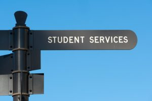 Student services sign