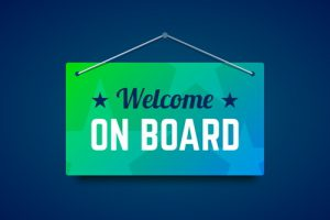 """Sign saying """"welcome on board"""""""
