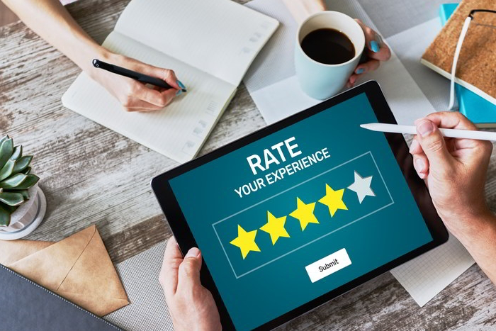 Tablet Showing Rating Stars