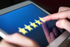 5 stars rated on a tablet